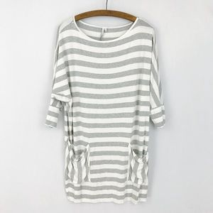 Michael Stars Gray White Striped 3/4 Sleeve Tunic